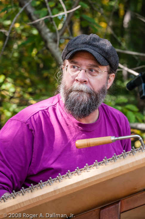 musician in the park, autoharp, beard