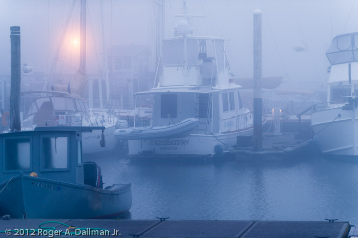 photo of a boat dock in the early fog