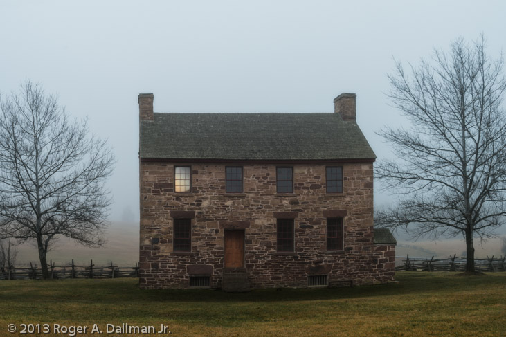 Stone house at the Manassas Battlefield, Manassas, Virginia, fog ghost
