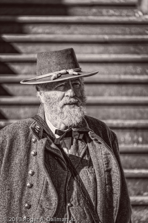 Robert E. Lee re-enactor, Stratford Hall, Virginia, black and white photograph
