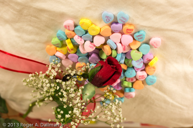 photo of valentine rose and candy