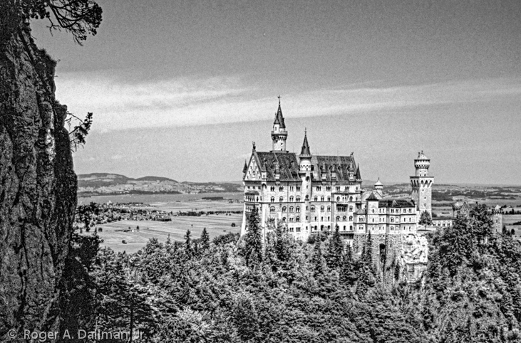 German castle, black and white, B&W, landscape, Prince Ludwig