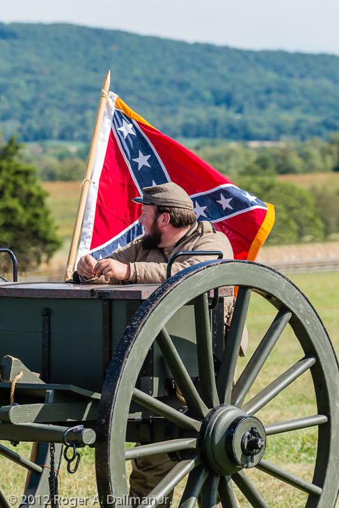 Confederate flag and soldier