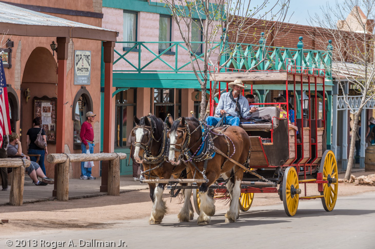 tourists and a stagecoach on the streets in Tombstone, Arizona