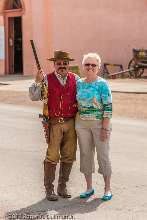 tourist and cowboy in Tombstone, Arizona