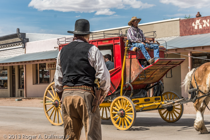 cowboy and stagecoach in Tombstone, Arizona