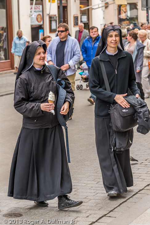 Nuns with ice cream cone, Krakow, Poland