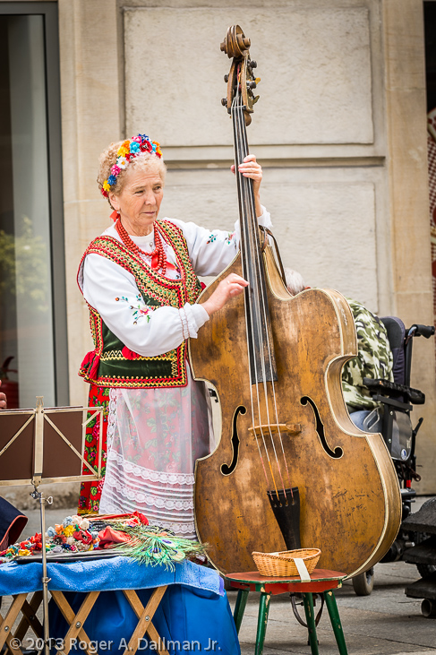 Bass fiddle player, Krakow, Poland