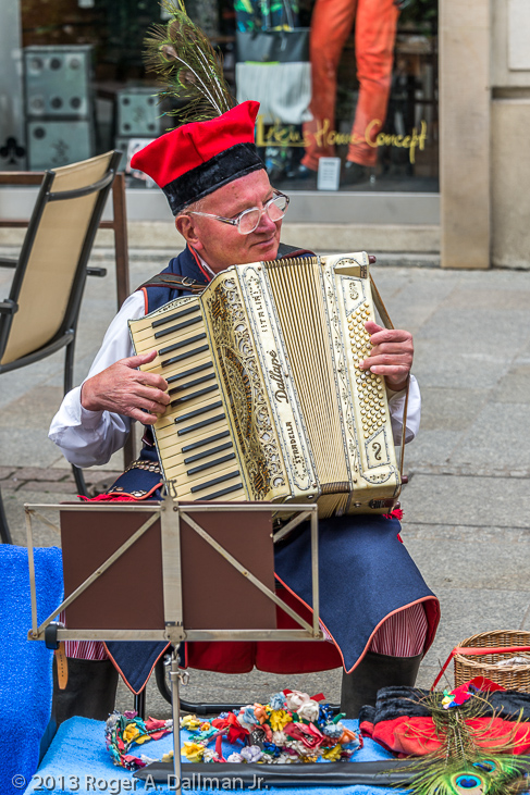 photo of accordian player, Krakow, Poland