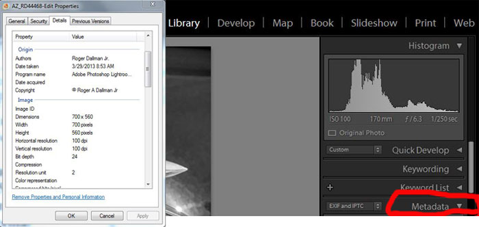 "Right-click on the file name, and click ""Properties"" to see what metadata is in your photo ( left  ).  Lightroom's  Library   module gives you even more metadata. ( right )"
