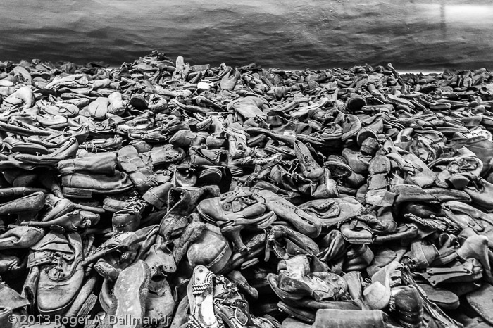 An entire room filled with shoes from the victims.