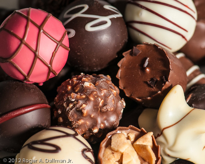Macro lenses can fill your frame with chocolates.
