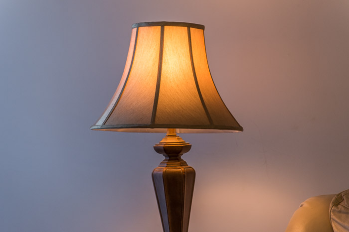 Without any corrections made, you can see the orange color cast from this table lamp.