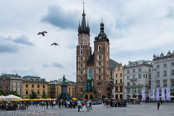 The old town center in Krakow, Poland.