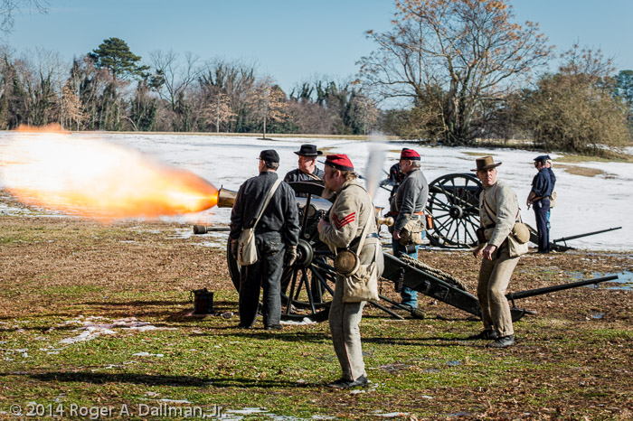 Cannon fires in Smithfield re-enactment.
