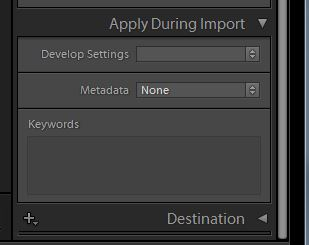Three areas I always use during Import.