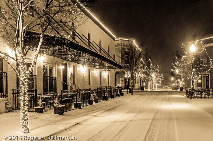 Old Town Manassas on a snowy night