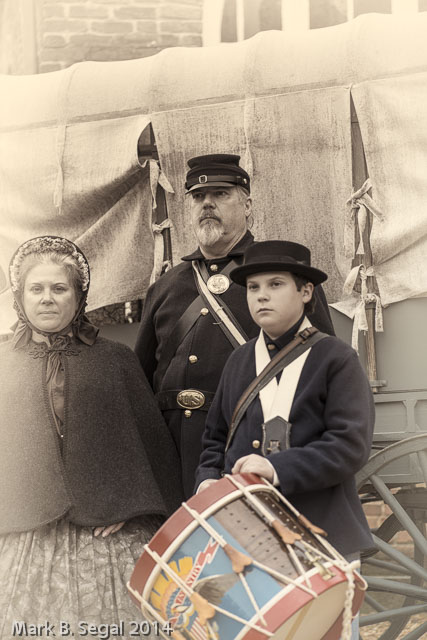 From now looking back to then. Reenactment Family at Harpers Ferry