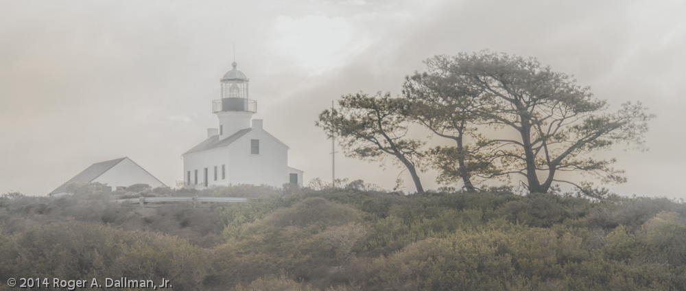 Lighthouse, with fog added, using negative Dehaze slider
