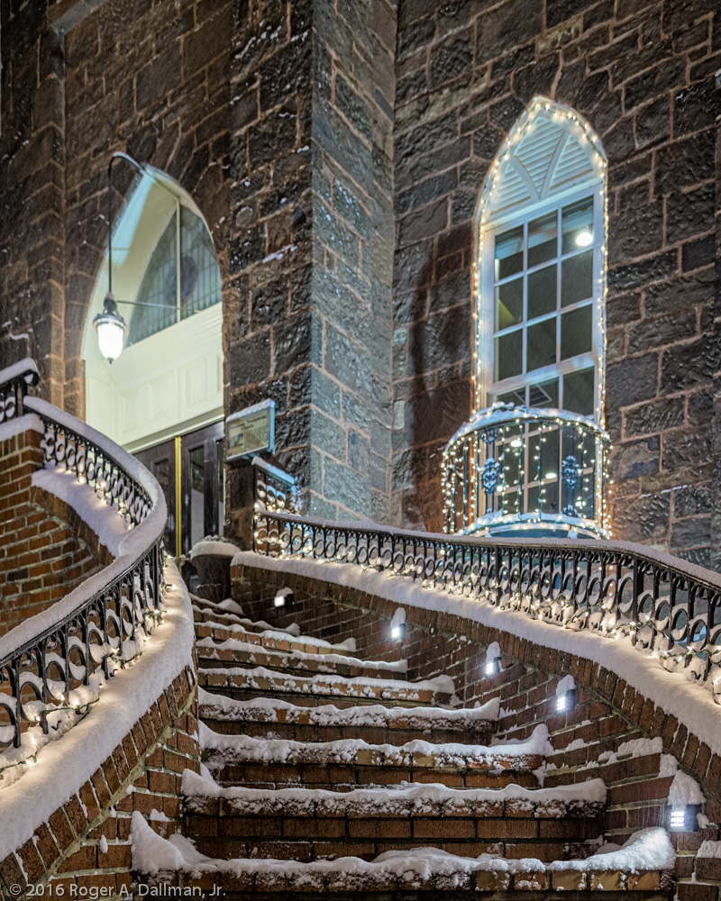 Snowy steps, at Malones