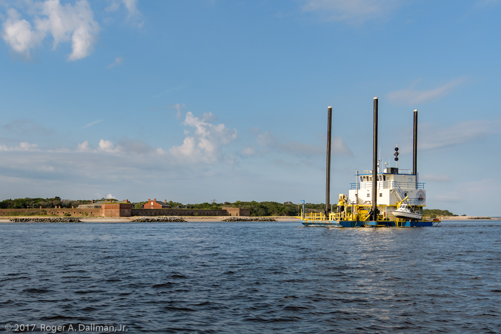 The Polly L passing Fort Clinch, a Civil War site