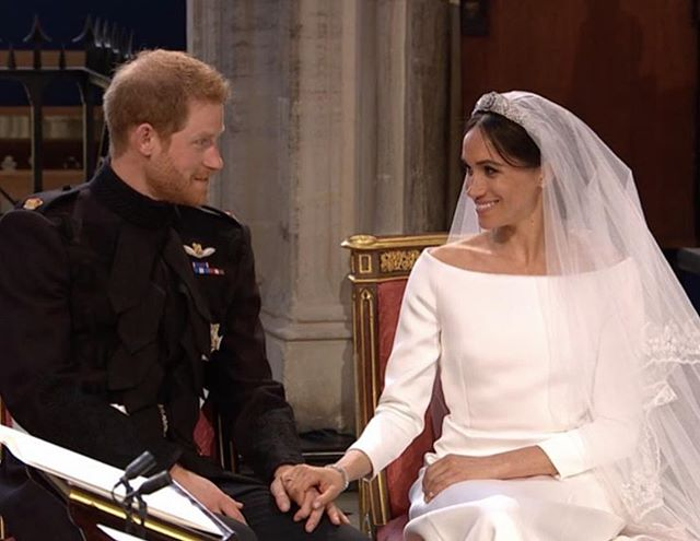I can't even. OMG! So elegant and stunning. Gushing!! #meghanmarkle #princeharry #Repost @brides ・・・ The look of true love 😍😍😍 Head to the #linkinbio for all the details on Meghan Markle's tiara! 👑 | Courtesy of @bbc