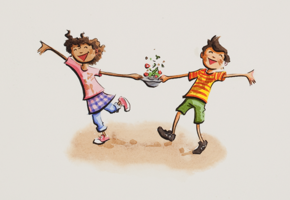 Artwork from  Salad Pie  by Wendy BooydeGraaff and illustrated by Bryan Langdo
