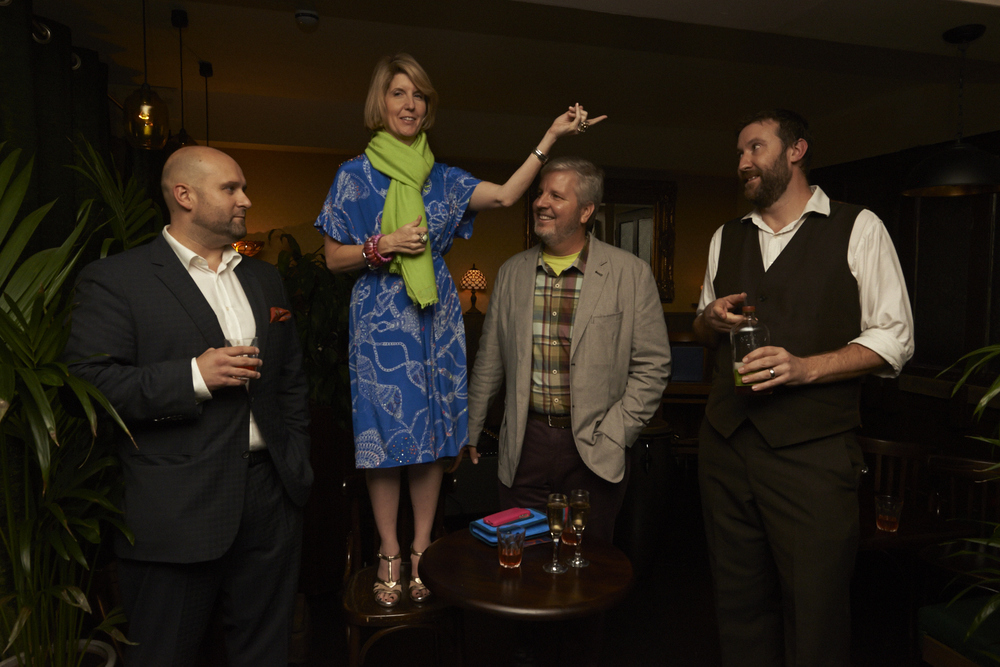 NOLA owner, James Triffo (L) Ann and Paul Tuennerman (C) & NOLA cocktail guru and founding partner Dan Priseman (R) to accept the Seal Of The Sazerac