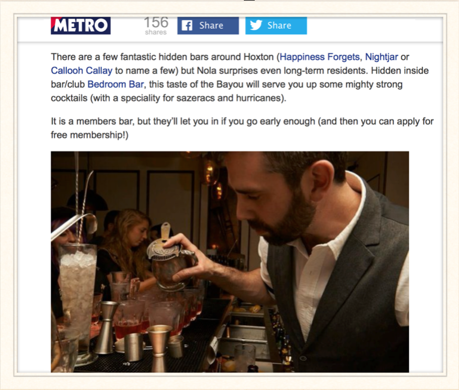 Metro: Hoxton, East London: 9 secret spots that the locals try to keep quiet, 2014
