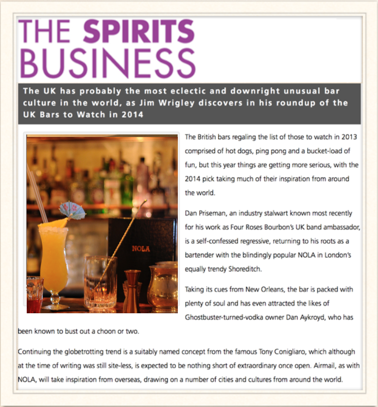 The Spirits Business: The Bars to watch in 2014