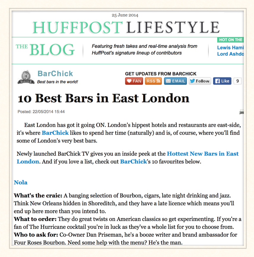 Huffington Post: 10 Best Bars in East London, 2014