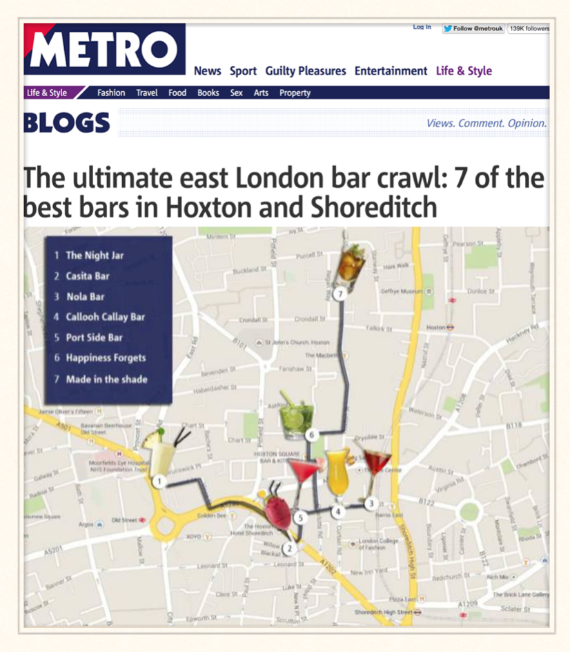 Metro: The ultimate east London bar crawl: 7 of the best bars in Hoxton and Shoreditch, 2014