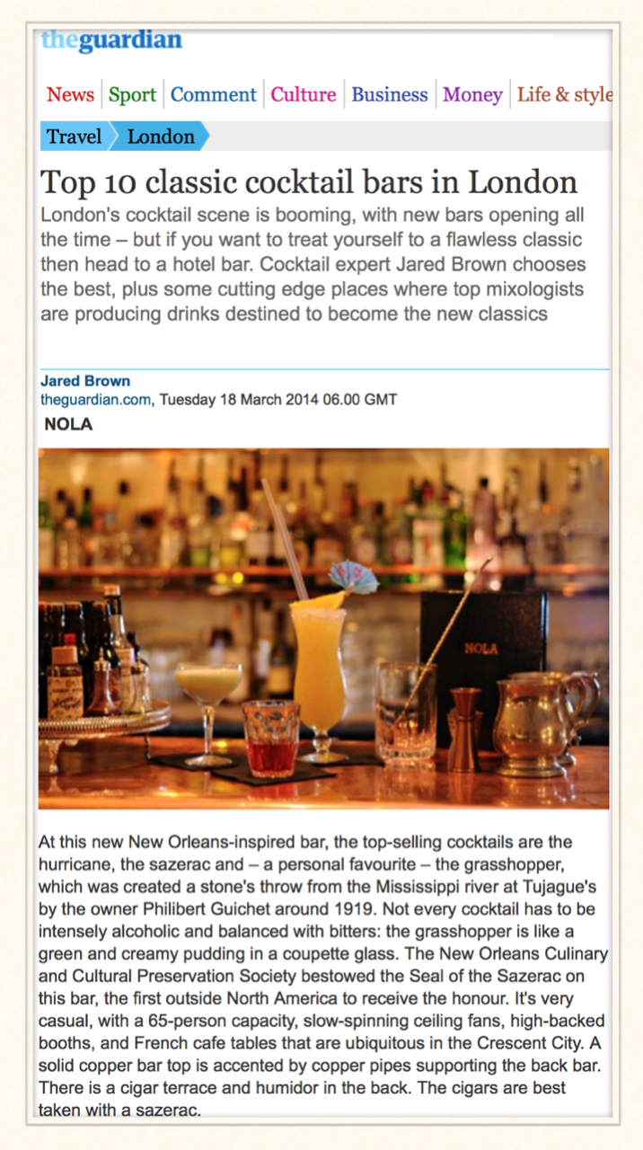 The Guardian: Top 10 Classic Cocktail Bars in London, 2014