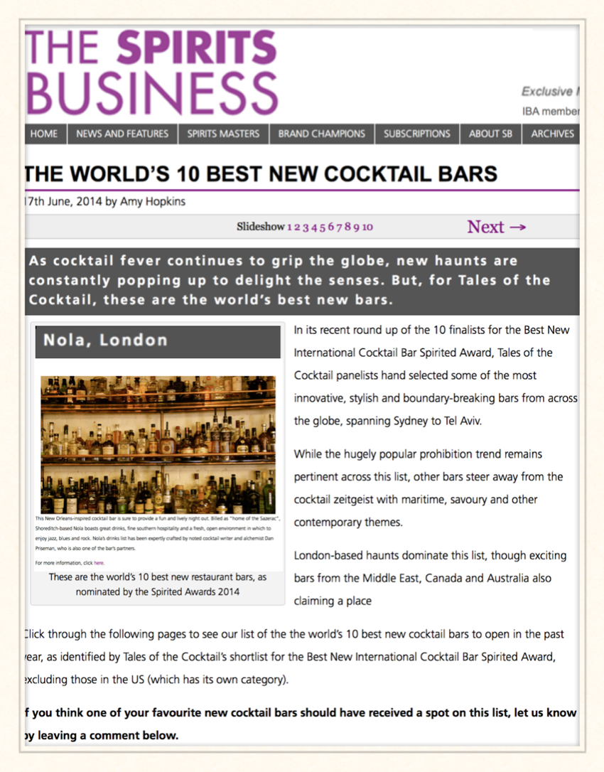 The Spirits Business: The World's 10 Best New Cocktail Bars, 2014