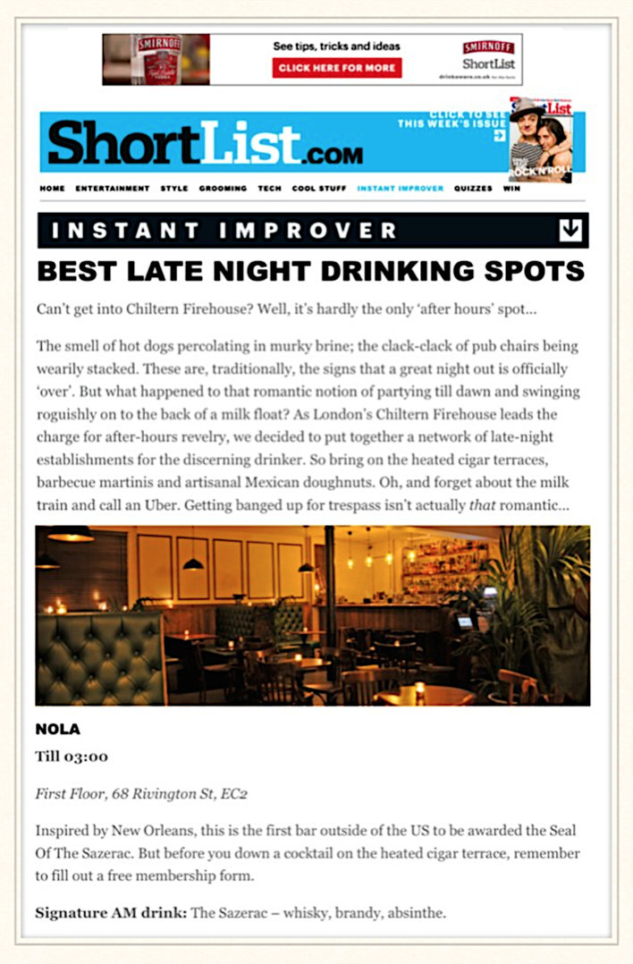 ShortList: Best Late Night Drinking Spots, 2014