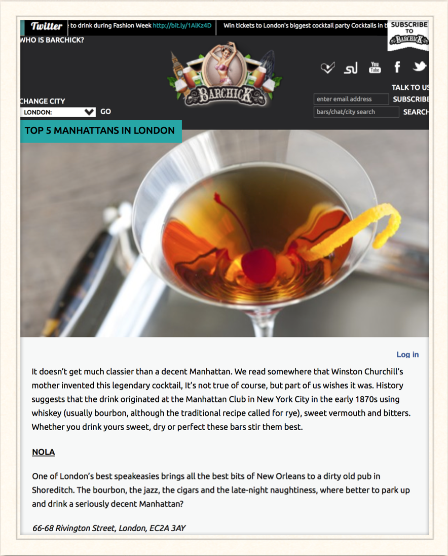 BarChick: Top 5 Manhattans in London, 2014