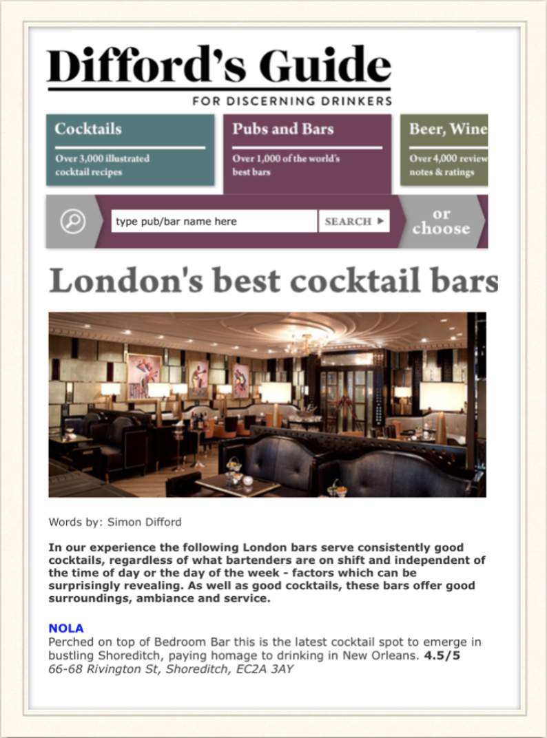 Difford's Guide: London's best cocktail bars, 2015