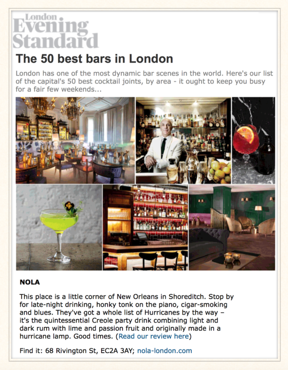 London Evening Standard: The 50 Best Bars in London, 2015