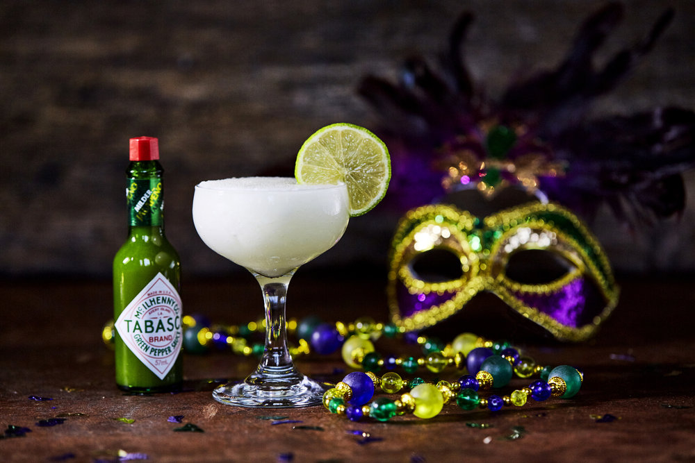 Serves: 1  Ingredients: 50ml white rum, 25ml lime juice, 15ml sugar syrup, 4-8 dashes of TABASCO® Green Sauce. Garnish: 1 lime wheel. Method: ·       Add all ingredients to a blender with 8-12 cubes of ice. Blend until smooth. ·       Pour into a coupe glass and serve with a lime wheel.