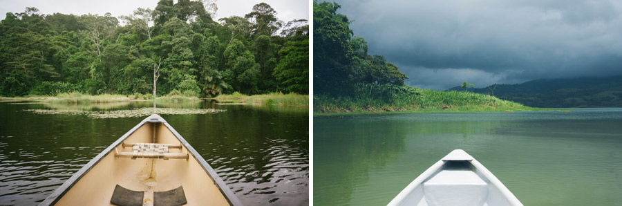 Canoeing at Maquenque (left), Lake Arenal (right).