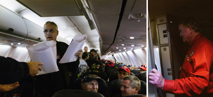 Trip leader & Rick (right) looks out over a plane full of grateful tears as he surprises the vets with a special Mail Call.