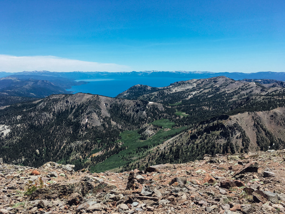 The view from the peak of Mt. Rose with Lake Tahoe in the distance.