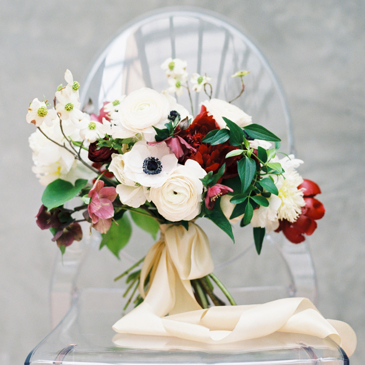 Spring Bouquet with Peonies, Anemones, Ranunculus and Dogwood by Sprout Floral Design