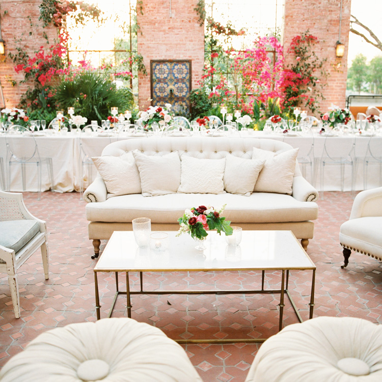 Head Table with Lounge Seating by Sprout Floral Design