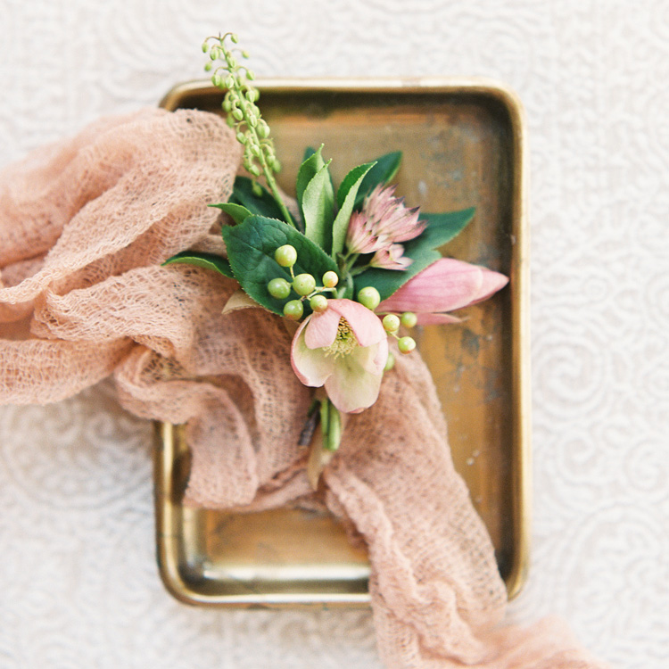 Winter Corsage with Hellebores and Magnolia Blossoms by Sprout Floral Design