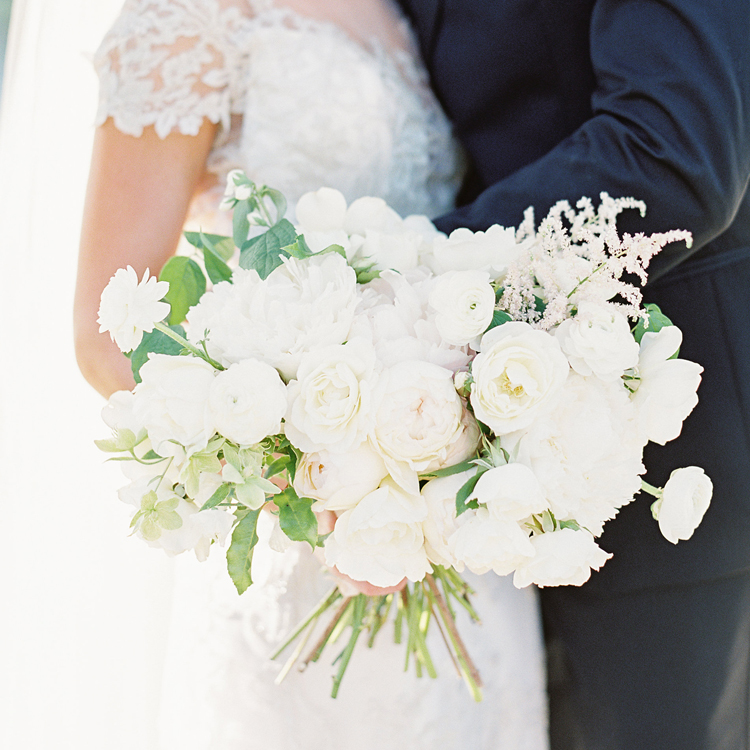 White Garden Rose and Ranunculus Bouquet by Sprout Floral Design