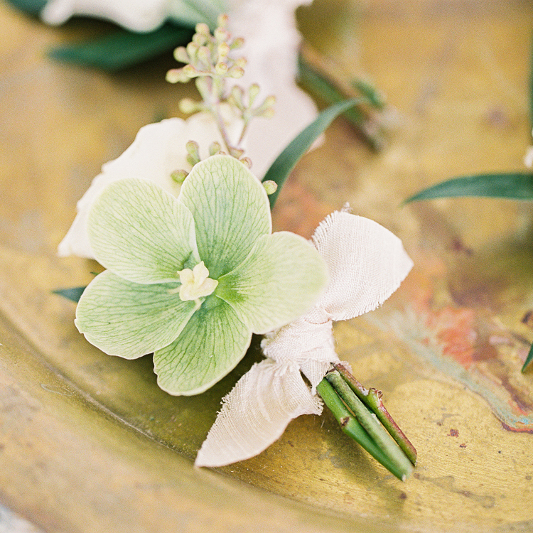 Green Hellebore Boutonniere by Sprout Floral Design