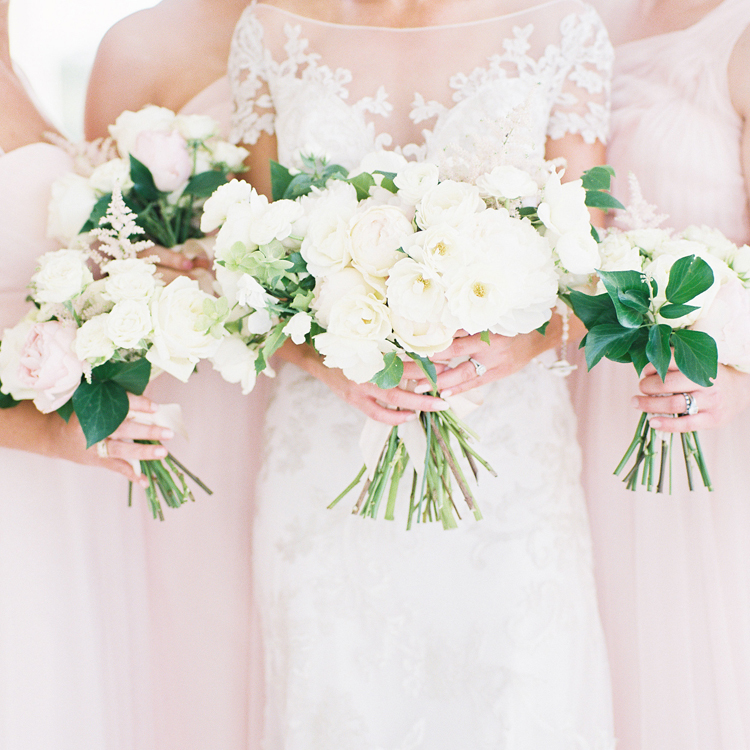 White and Blush Bouquets by Sprout Floral Design