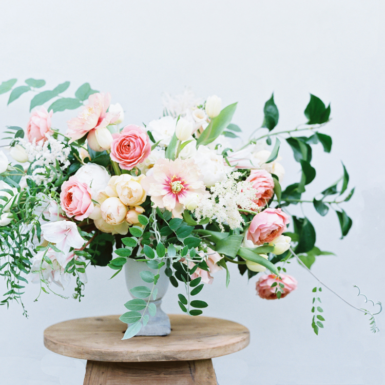 Spring Peony and Garden Rose Urn Arrangement by Sprout Floral Design