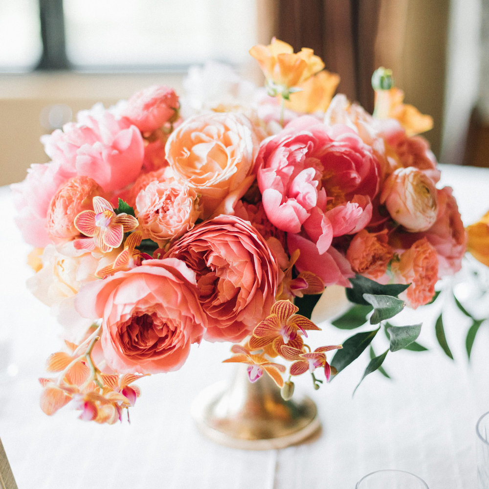 Spring Peony and Garden Rose Arrangement by Sprout Floral Design